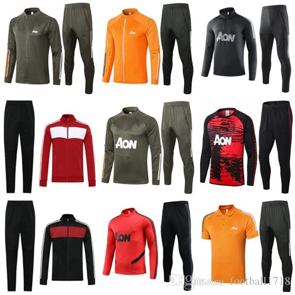 20 21 Manchester Training Suit Homens Crianças Martial Rashford Survection Jaqueta de futebol Sportswear Jogging 2020 Pogba United Soccer Tracksuit