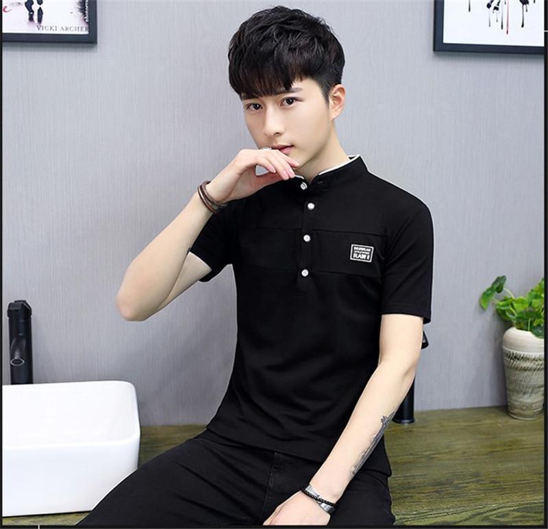 Yaz Giyim Erkek Saf Renk Casual tişörtleri Moda Standı Yaka Kısa Kollu Tişörtler Tasarımcı Erkek Aplike Düğme