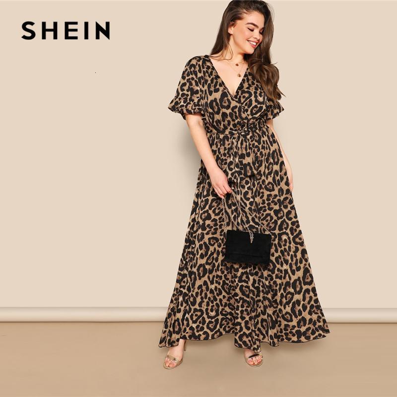 Shein donne Plus Size Flounce manica cravatta Surplice Wrap leopardo Un Vestito linea primavera multicolore abiti a vita alta