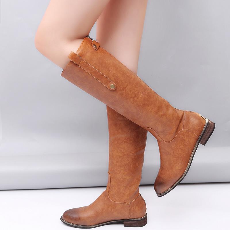 Tacchi cuoio dell'unità di elaborazione Womam ginocchio alto quadrato stivali scivolare sul inverno caldo Stivali Donna Fashion Shoes Solid donna C286