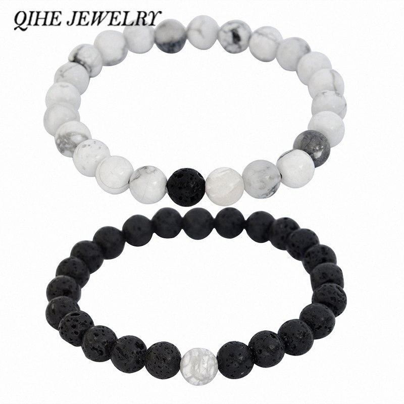 Qihe 2pcs jóia / set Buda olhos do tigre fosco lava pulseiras de pedra criados pulseira de miçangas presente para homens jóias Masculino OlkU #