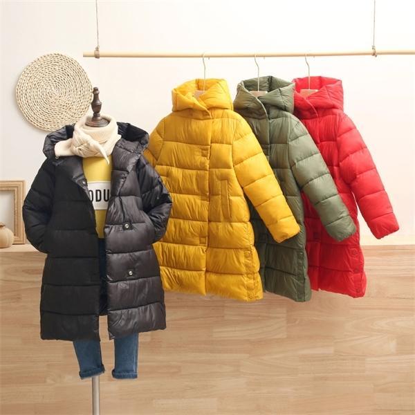 Niños muchachas de los niños Calentamiento chaquetas del invierno del otoño de los niños a largo Espesar con capucha abrigos niños Ropa de abrigo de algodón Parkas Ropa para niños pequeños