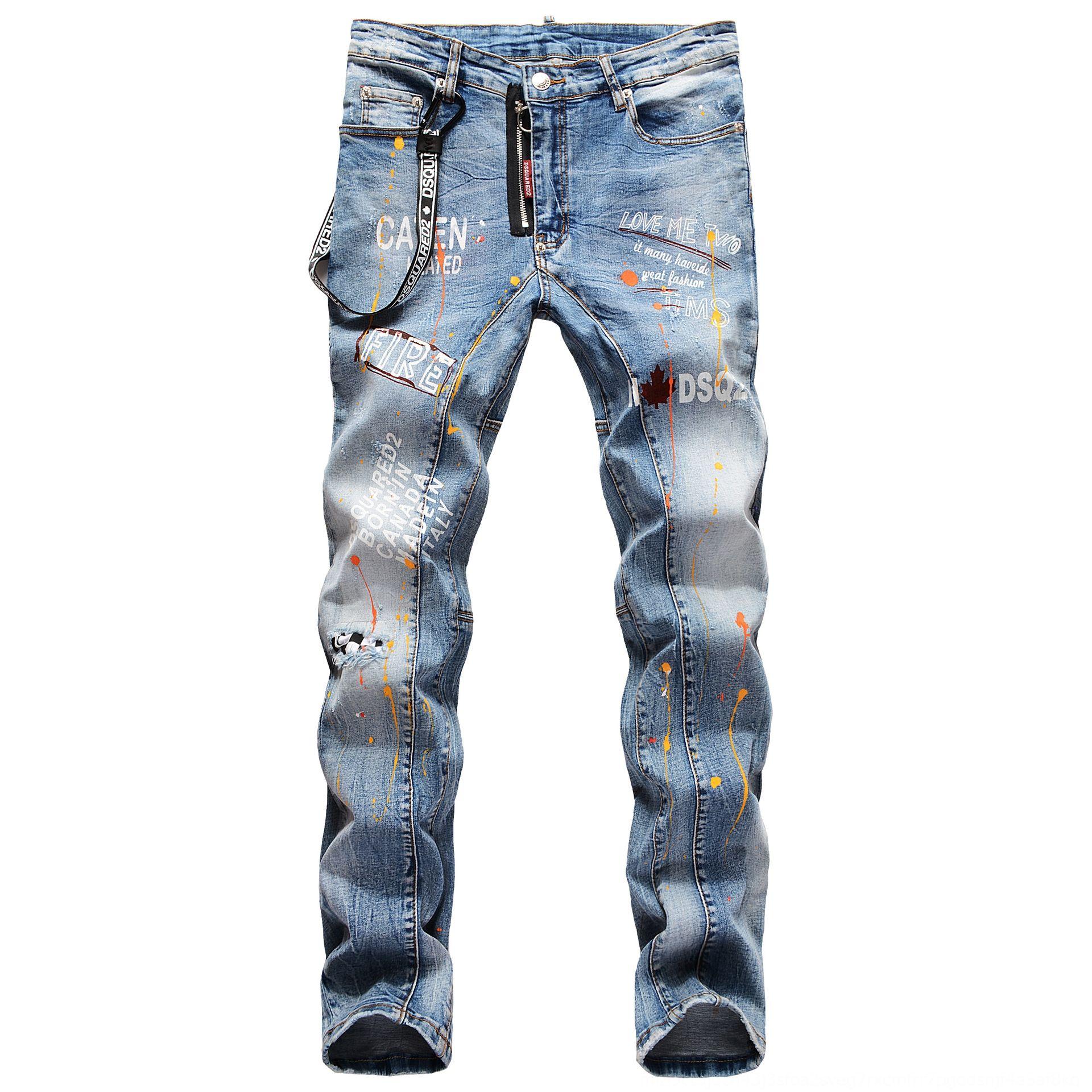los pantalones vaqueros bordados agujero de impresión elástico 3D italiana decoración cordón marca de moda y jeansEmbroidered pintados a jeanshand pintura je recta