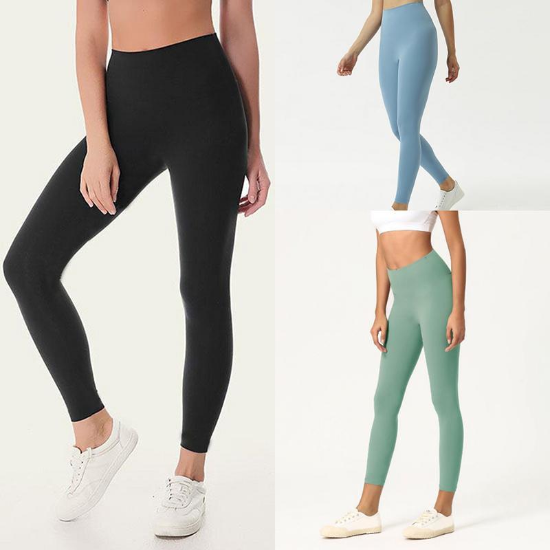 Cor sólida Mulheres calças de yoga cintura alta Gym Sports Wear Leggings Elastic aptidão Senhora geral completa calças justas Workout Yoga Sports Leggings