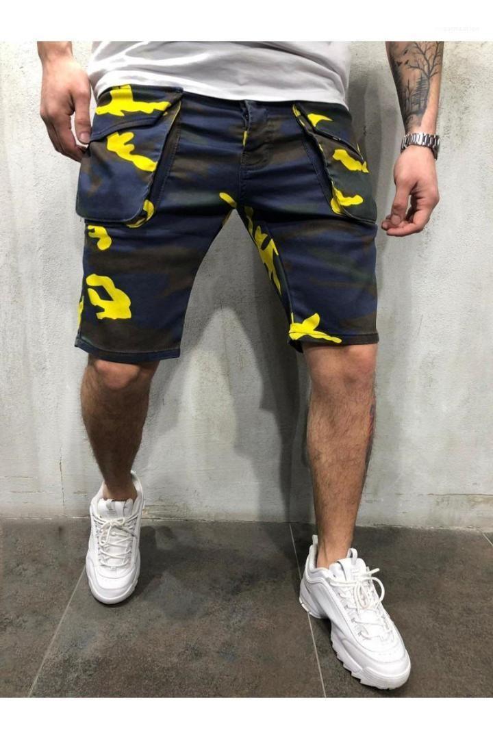 Длина колена Мужские Короткие брюки Новое прибытие Камуфляж Свободные Mens Cargo Shorts Мода