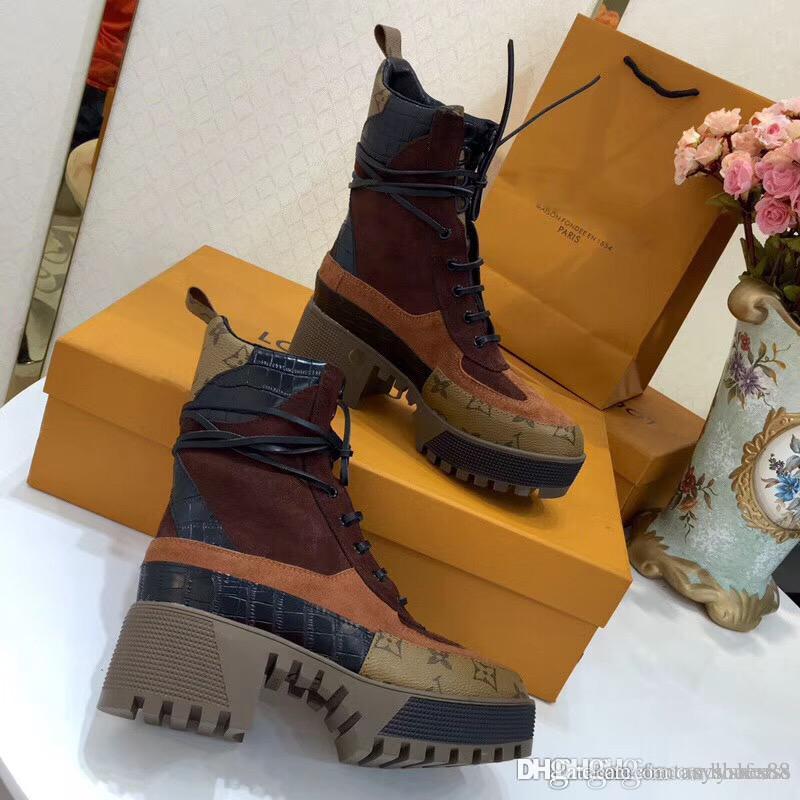 Mode Luxe femmes Bottes de haute qualité à lacets Bottines semelles lourdes en cuir loisirs dame Martin bottes de haute qualité