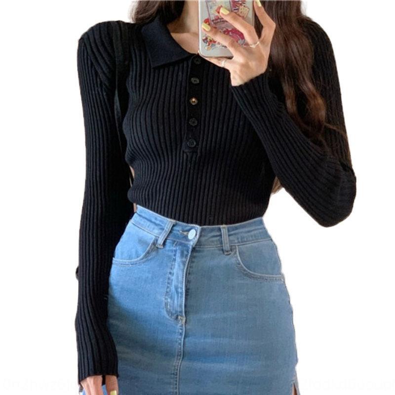 UWa81 risvolto elegante sottile che basa il pit maglieria autunno nuove donne 2020 stile coreano monopetto tutto-fiammifero top corto giacca corta knitte