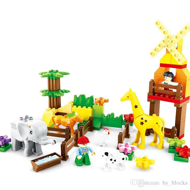 77pcs DIY 02 para coloridos partículas más grandes edificio zoológico educación juguetes bloques creativo lindo inteligencia niños y niñas niños regalo xphsd