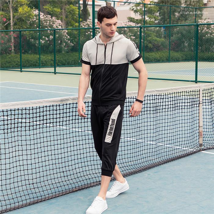 T-Shirt mit Reißverschluss losen kurzer Homme Sommer laufender Sport-Klage der Männer mit Kapuze Anzug kurzer Hülsen-beiläufiger