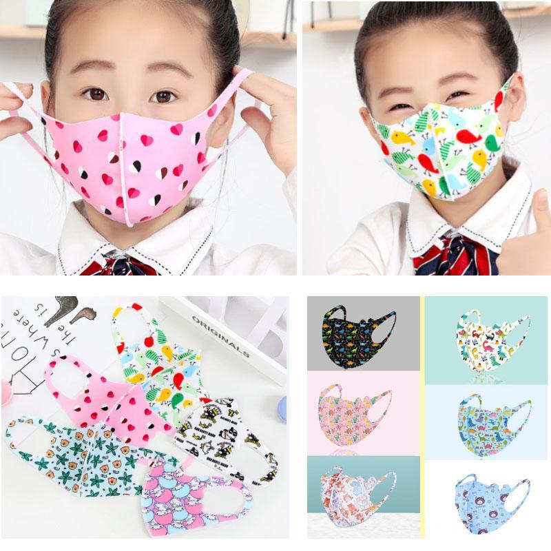 Máscaras PM2.5 niños contra la contaminación de las muchachas de las máscaras de dibujos animados de la boca de la cara de los niños anti-polvo respirable Earloop reutilizable lavable de algodón Máscara WX20
