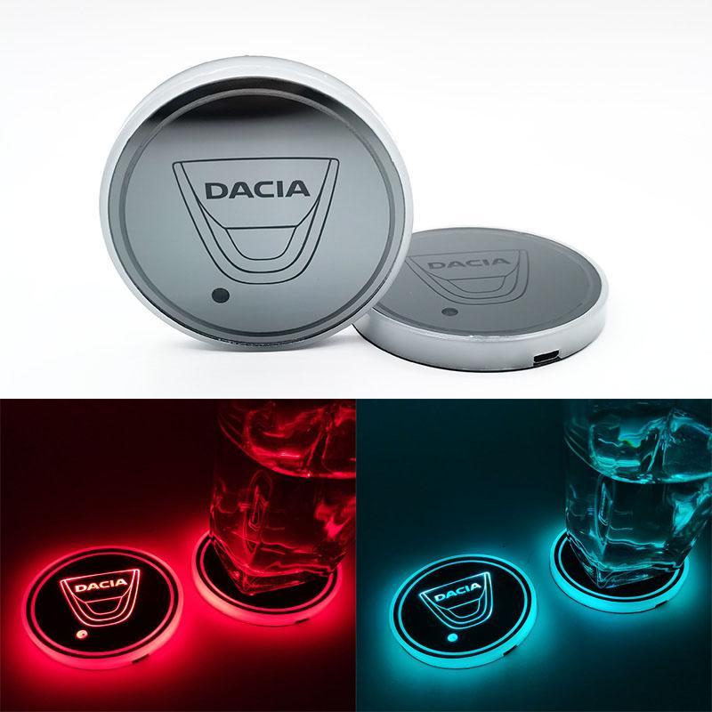 Dacia automobile ha condotto Acqua Brillante stuoia della tazza del sottobicchiere luminoso Atmosfera Luce Per Dacia Duster Logan Mcv 2 Sandero Stepway