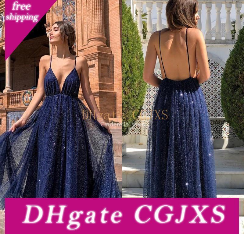 Sparkly Navy Blue 2020 Prom Dresses Profondo Scollo a V Backless Paillettes A -Line arabo Dubai partito convenzionale degli abiti di sera personalizzata robe de soiree