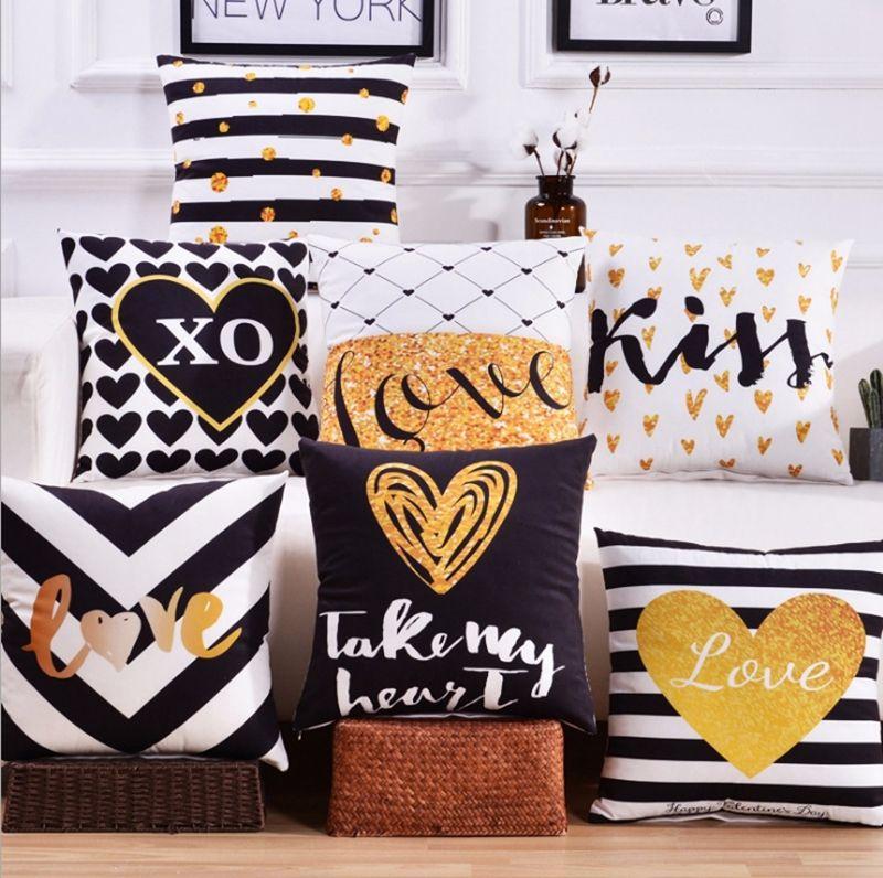 Almofadas Covers geométricas decorativas fronha Impresso Lance Pillowcase Home Decor cervos Carta Coração 19 Designs frete grátis 16pcs YW1237