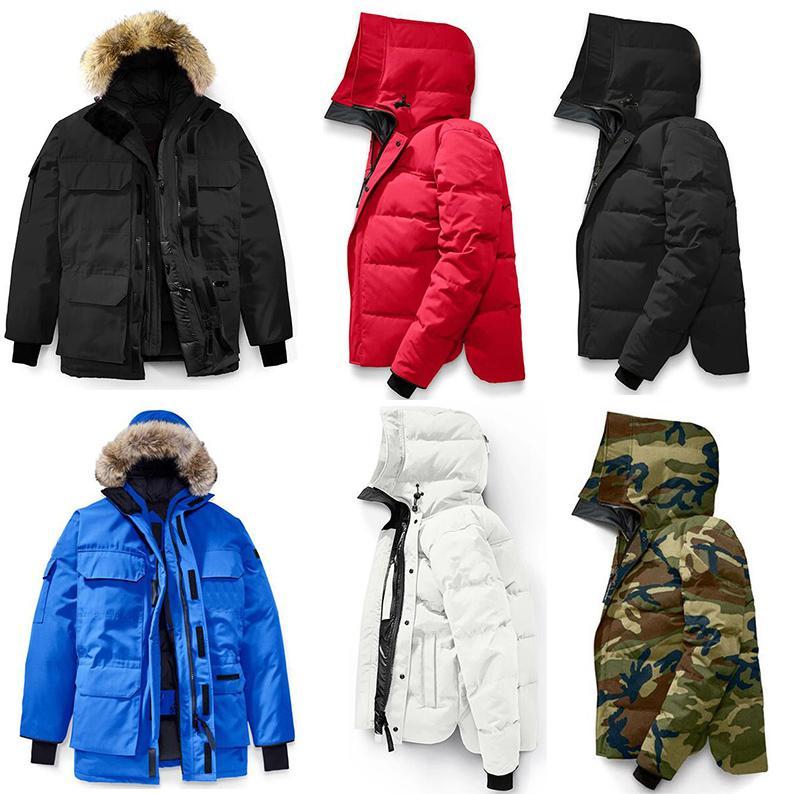 2020 캐나다 남성 디자이너 겨울 코트 파카 브랜드 자켓 후드 윈드 브레이커 큰 모피 다운 재킷 조끼 Manteau Hiver의 doudoune의 옴므