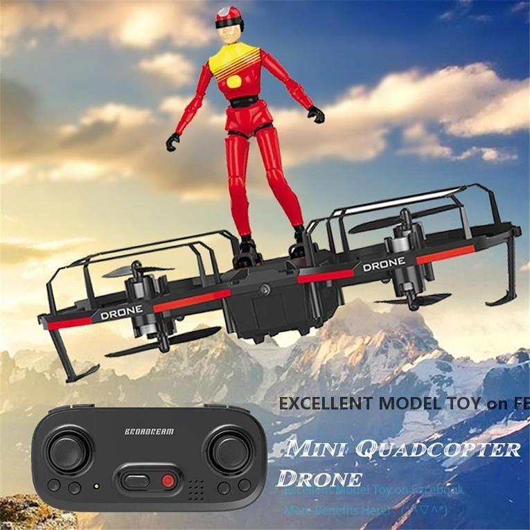 Zwei-Achsen-Fernbedienung Mini Flugzeuge Drone Spielzeug, Fallschirm-Modus mit Puppe, Altitude Hold, Geschwindigkeitseinstellung von 3 Gängen, Weihnachten-Kind-Geschenk, USEU