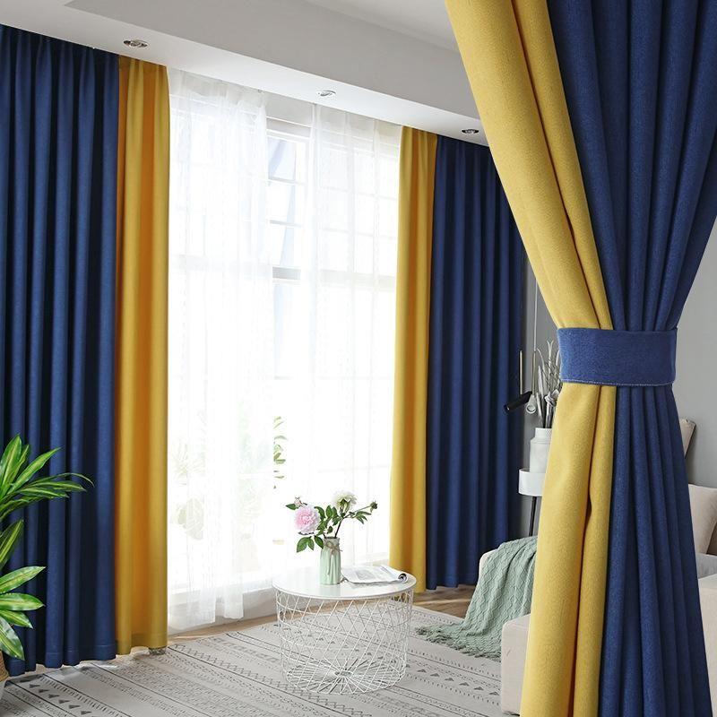 2 개 현대 럭셔리 하이 엔드 커튼 베드룸 거실 발코니 창 화면 커튼 빌라 장식 코튼 리넨 바느질 커튼
