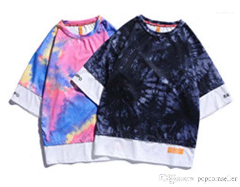 Tinta camuflaje camisetas de manga corta causal de cinco minutos de la manga Falso diseño para hombre de la ropa de moda Dos hombre de las camisetas Splash