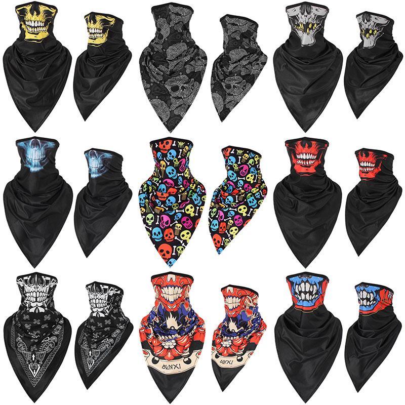 Расширенная шелк льда быстросохнущей дышащего черепа треугольник шарфа антитеррористической маска CS воротник езду ветрозащитного солнцезащитной маски HM0801