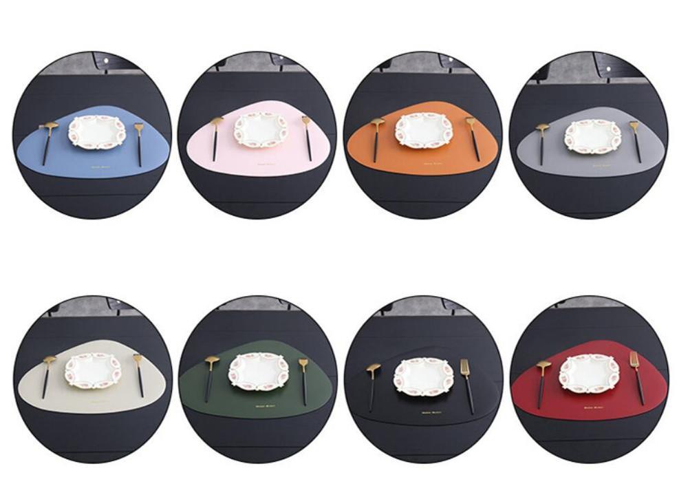 Placemat Tabela Mat Louça Pad PU couro impermeável isolamento térmico Non-Slip Coaster placemat Soft Black Brown lavável bacia