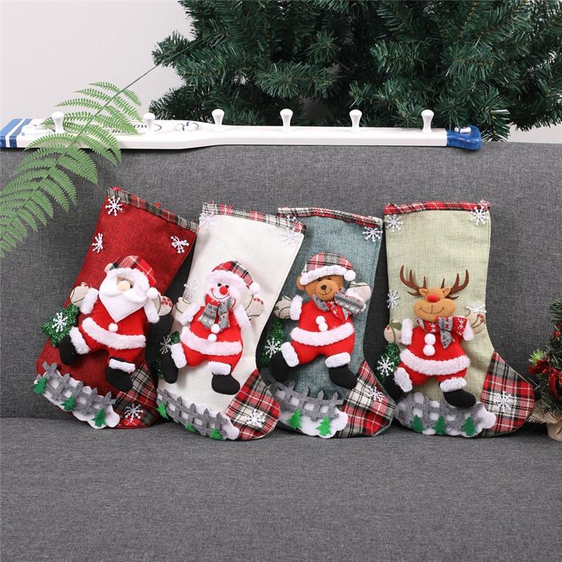 DHL Livraison 12,60 * 7.48Inch Bas de Noël Sacs cadeaux réutilisables Noël Stocking grande taille Jute Décoration Chaussettes bonbons Sac de rangement L578FA