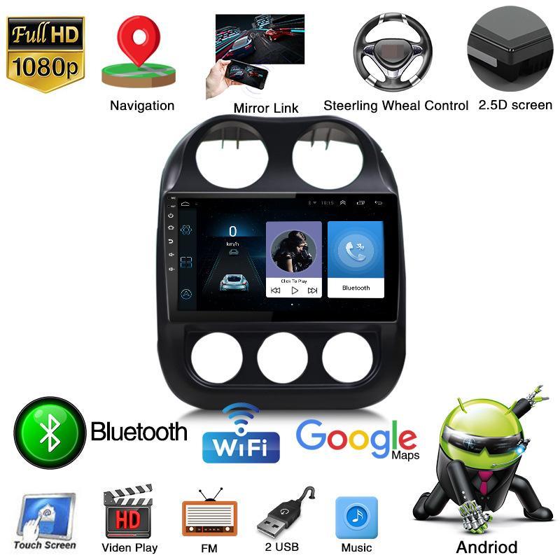 JEEP Compass için HD 10 inç Android 9 Araba Radyo Multimedya GPS Navigasyon Video Ses DVD Oynatıcı, Bluetooth, USB