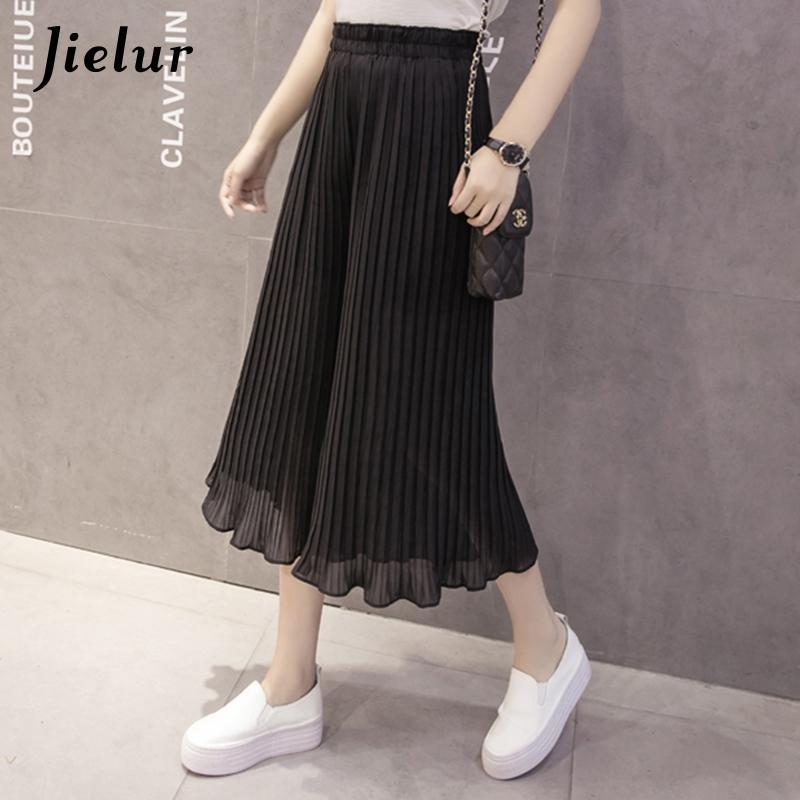 Jielur 2020 Yeni Moda 8 Renkler Ruffles Şifon Pantolon Kadınlar Casual Pileli Pantalon femme S-XL Gevşek Saf Renk Geniş Bacak Pantolon CX200807