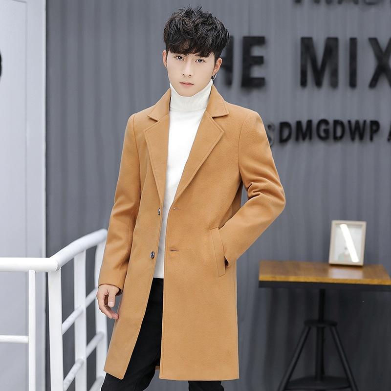 lana de lana de lana 27m6s 2020 de los hombres otoño / invierno mitad de la longitud de los nuevos hombres capa de foso delgada capa de lana de Corea británica rompevientos