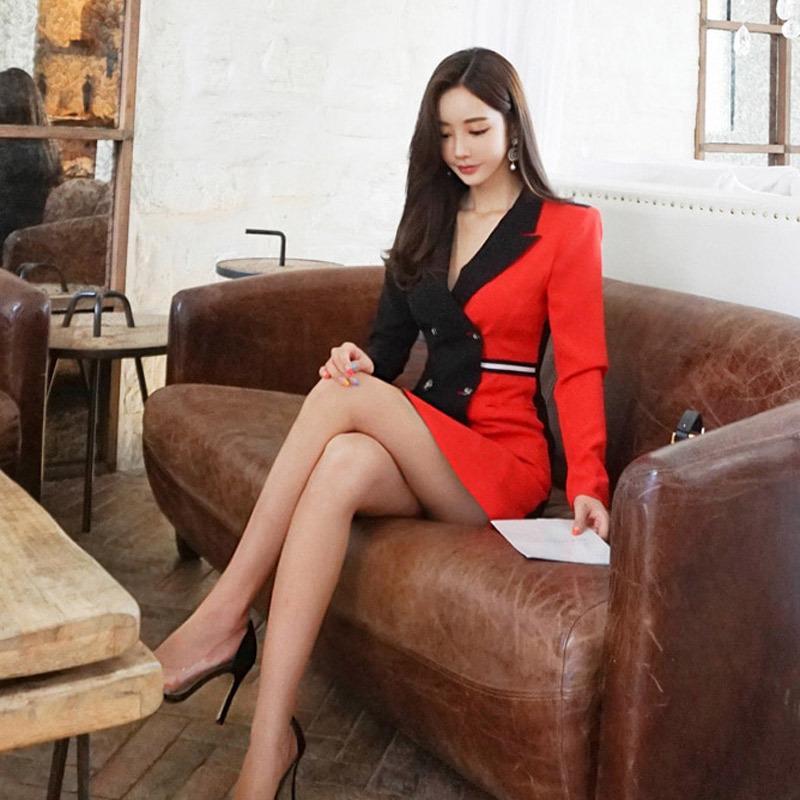 cappotto 2020 aderente socialite temperamento doppio petto color matching Nuova giacca di KLs9n IJX6w donne hip-avvolto professionale per w