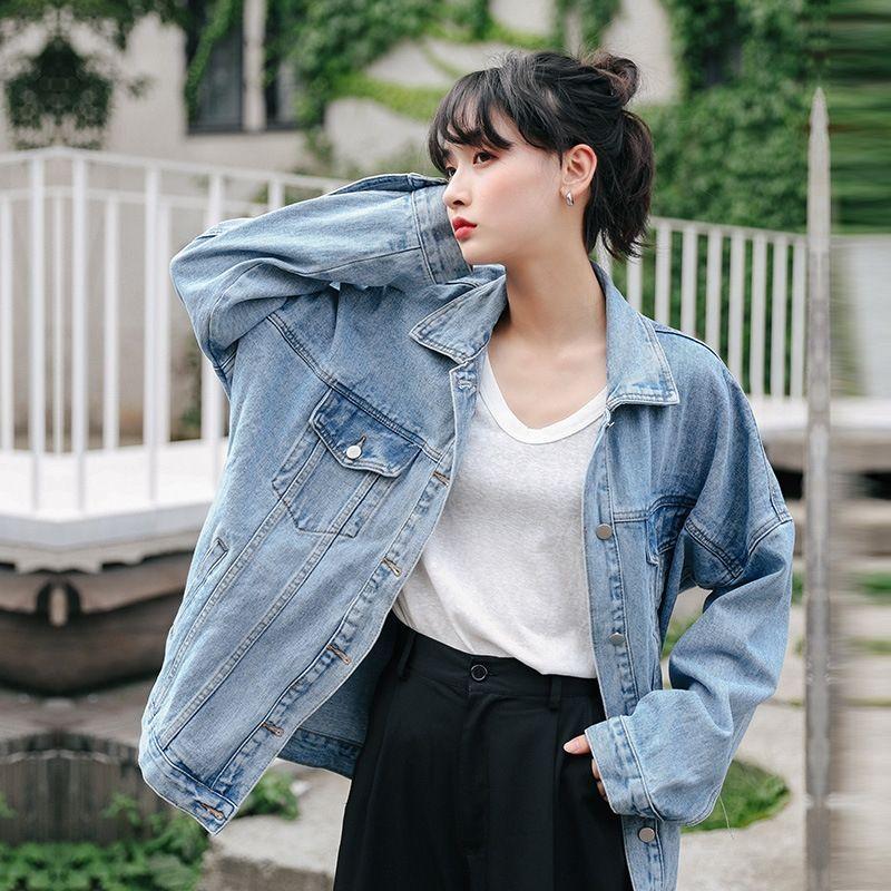 Bahar akışı kot kadın 2020 yeni kapüşonlu çıkarılabilir kot ceket Kore tarzı gevşek ceket