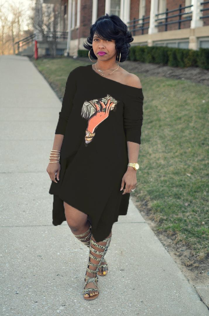 Robes Mode une épaule manches demi 3D Imprimer Robe ample causales Plus Size femmes Designer Vêtements d'été Femmes Designer