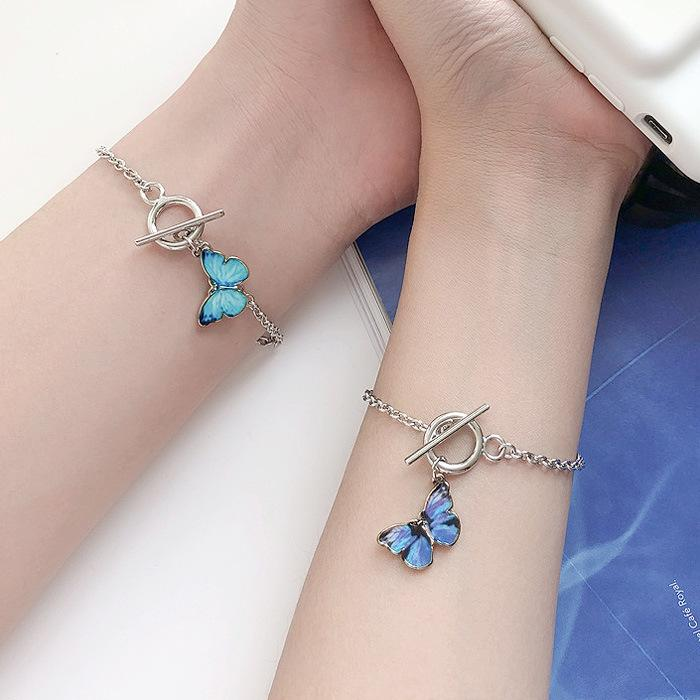 Hot Sell Blue Butterfly Word Buckle Bracelet Animal Charm Pendant Bangle Hand Chain Female Girlfriends Couple Designer Jewelry Gifts