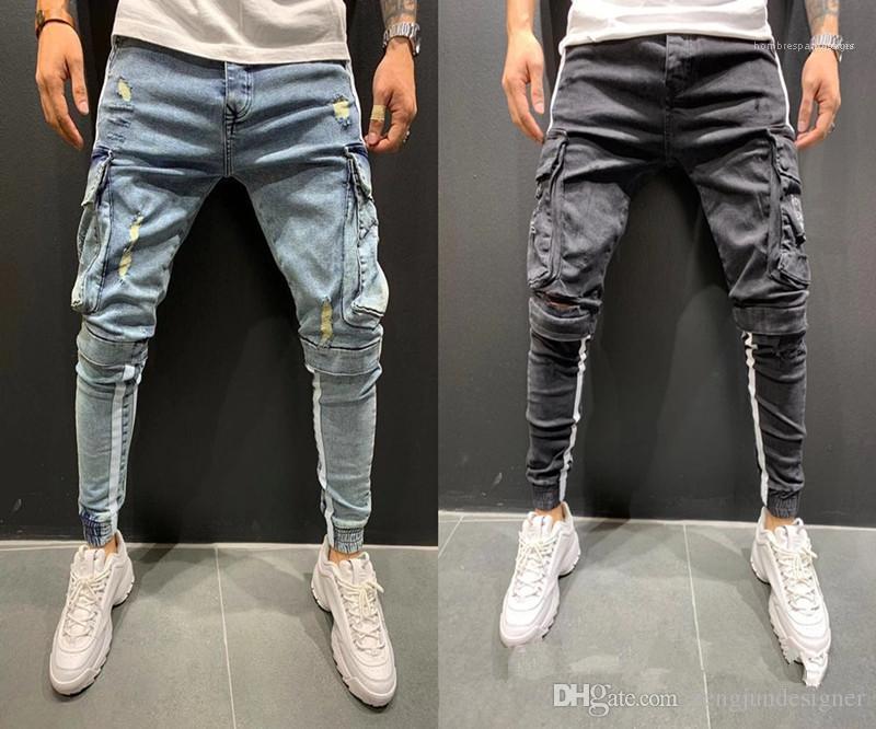 Renk Homme Giyim Yaz Stil Hip Hop Gündelik Giyim Erkek Moda Tasarımcısı Kalem Pantolon Kot Delik Cep Katı
