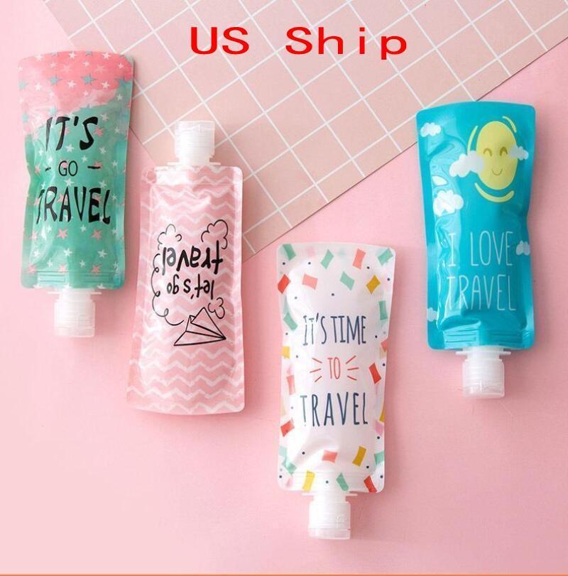 25ml / 90ml viaje de llenado de botellas cosméticos bolsa de pvc bolsa de embalaje portátil desinfectante para las manos maquillaje Champú botella de embalaje botella de líquido fluido