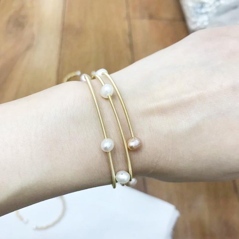 Luxus Barock Süßwasser-Zuchtperlen Armbänder Boho Aussage hohe Qualität Cuff Perlenarmband Zubehör Mujer beste Geschenk für Frauen