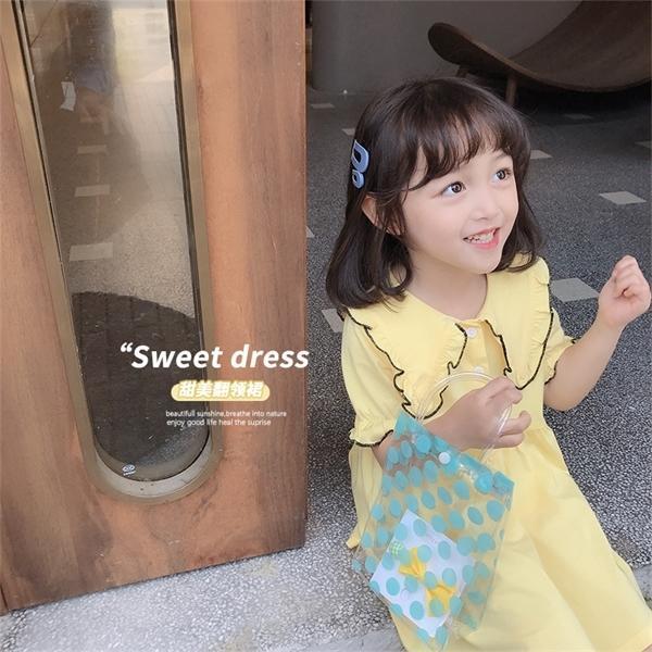 nuevo vestido de los niños coreanos vestidos de polo dulce de la muchacha del estilo de la escuela de los niños del verano 2020 lindo bebé desgaste de la muchacha 1-1 0924