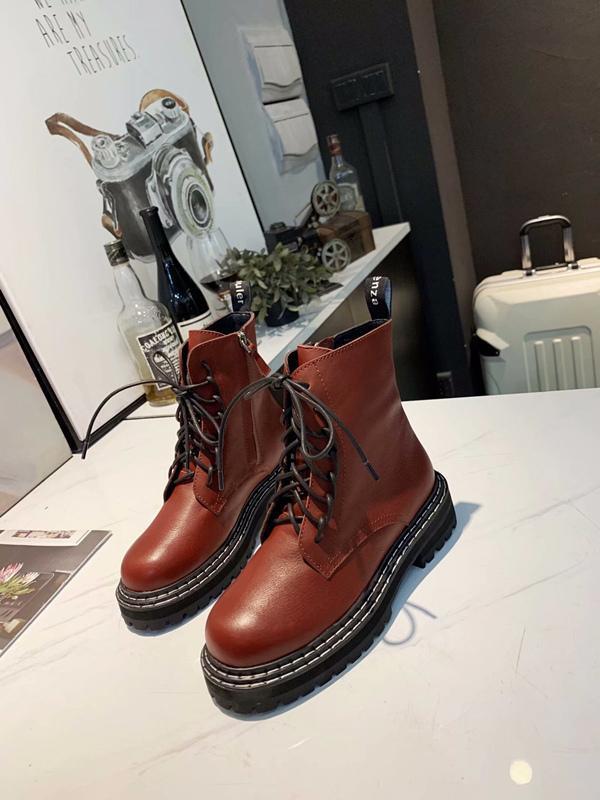 """2021u Outono E Inverno Modelos Couro Plataforma Mulheres """"; S Botas Vento britânica Martin botas, botas do salto Moda alta -Heeled grossas"""