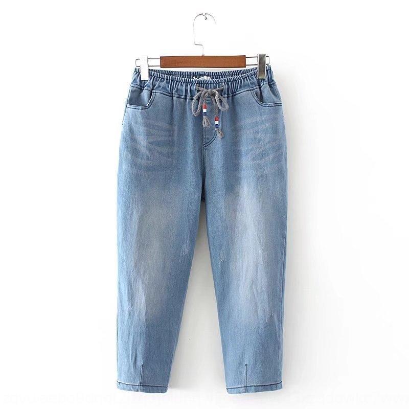Go6Jx verano nuevos pantalones de las mujeres y estiramiento tamaño de mezclilla pantalones capri más los pantalones con cordones de la alta cintura los pantalones de lavado 21-K630