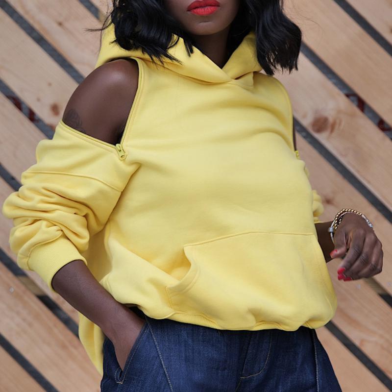 Streetwear surdimensionné à capuche Femmes sexy dos nu Zipper Jaune Noir poche Automne Hiver Sweatshirts Femme Pull Top Fashion