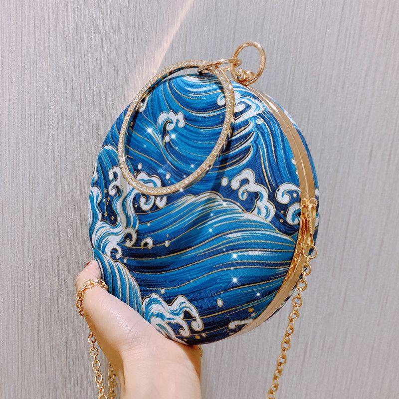 Марка вечера женщин сумка партии Silk поверхность мешка для девочек Свадебный кошелек Клатчи сумки Алмазный круг вокруг плеча Bolsas