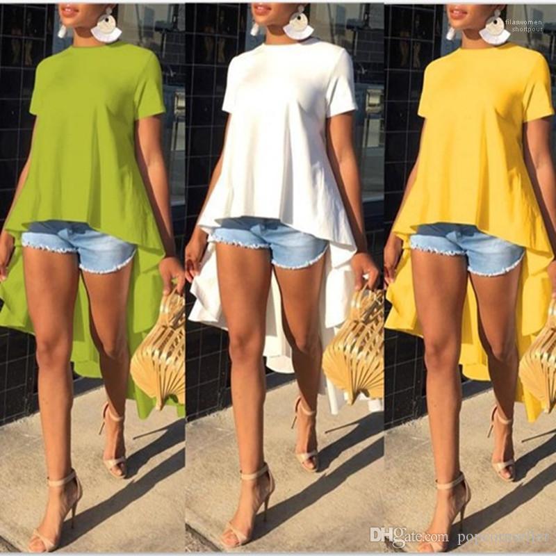 Manga corta Color Peplum Crew Casual cuello camiseta para mujer Tops para mujer Diseñador irregular camisetas verano Sólido