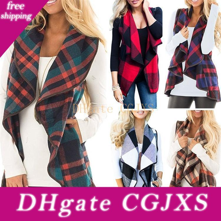 Womens Casual Lapel Open Front Plaid Vest Cardigan Coat With Pockets S -Xxl