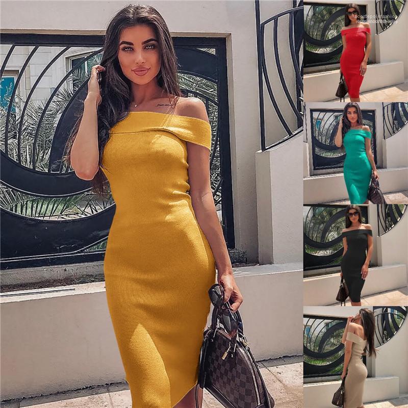 Seksi Kolsuz Elbise Boyun Tasarımcı Bayan Elbise Yaz kap Kol Katı Renk Çiğ Omuz Bayan Elbise Kadın Slash