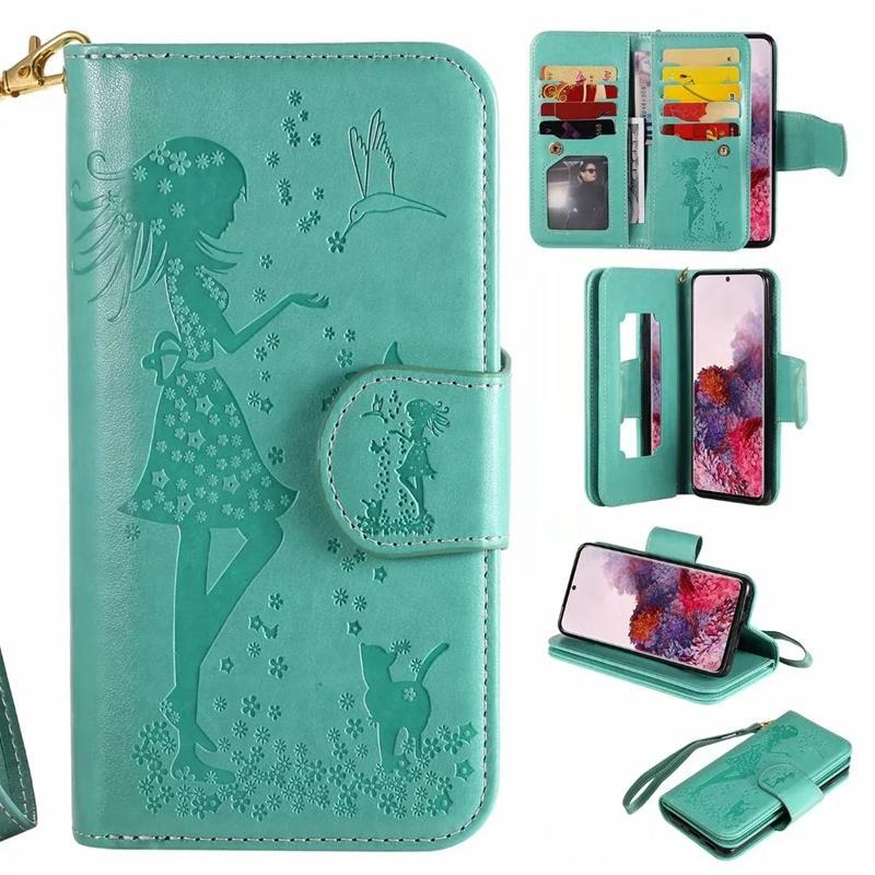 Cgjxs Multifunction Leather Wallet Case For Samsung Galaxy S20 Ultra S20 Plus S20 Id 9 Card Sexy Girl Mirror Flip Cover Flower Holder Pouch