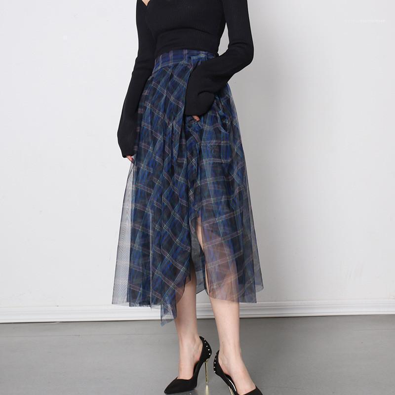 Asimmetrica Moda Panelled urbano di stile di svago Gonne donna Abbigliamento di lusso del progettista delle donne di estate gonne a quadri stampati