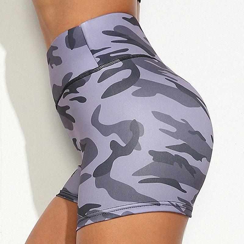 Femmes Sport Fitness stretch taille haute Camouflage Sport Yoga Course à Pied Shorts cMU9 de #