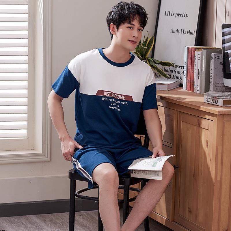 p85Nd мужского мужской летний костюм жилет шорт хлопок с короткими рукавами летом пижамы молодежного жилет дома хлопок шорты носить костюм плюс размер