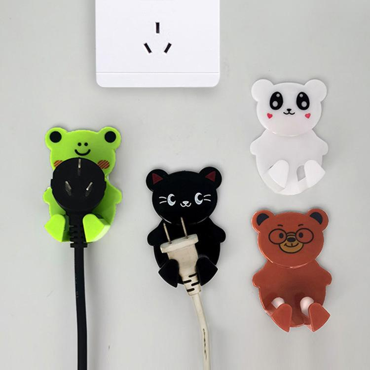 Cartoon animal sticky power plug hook Household socket storage rack plug finishing line card sticky hook