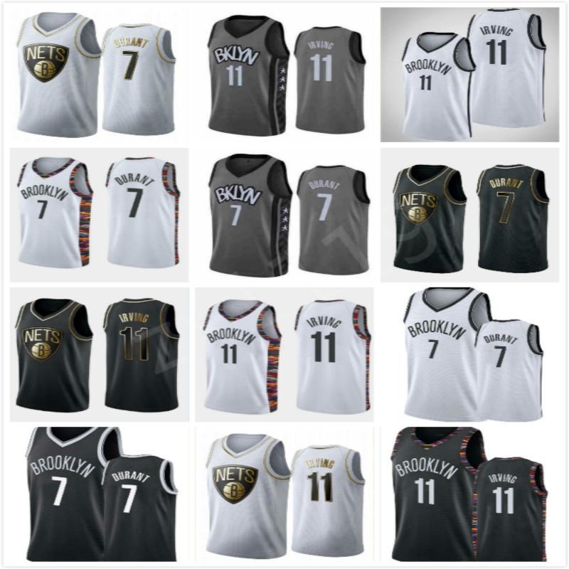 MenBrooklynNets # Kevin # 7Durant # Kyrie11Irving баскетбольных майки для ключевых игроков; свинг люди шили и вышитые майки для баскетбола