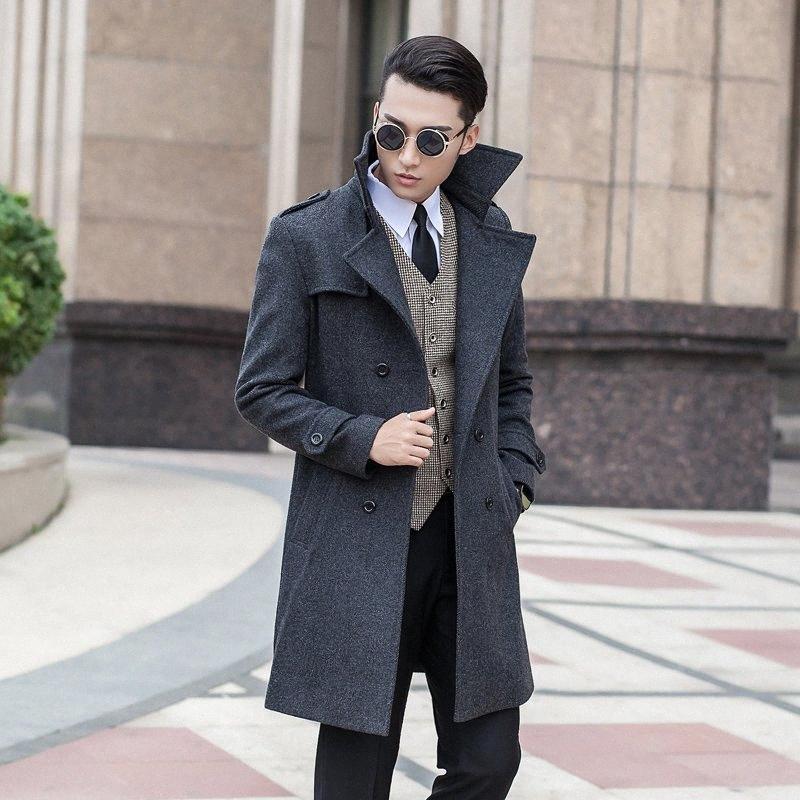 Para hombre de la capa nueva de la llegada del invierno ocasional de los hombres de alta calidad del otoño chaqueta delgada doble de pecho abrigo más el tamaño S-8XL9XL10XL HKCA #