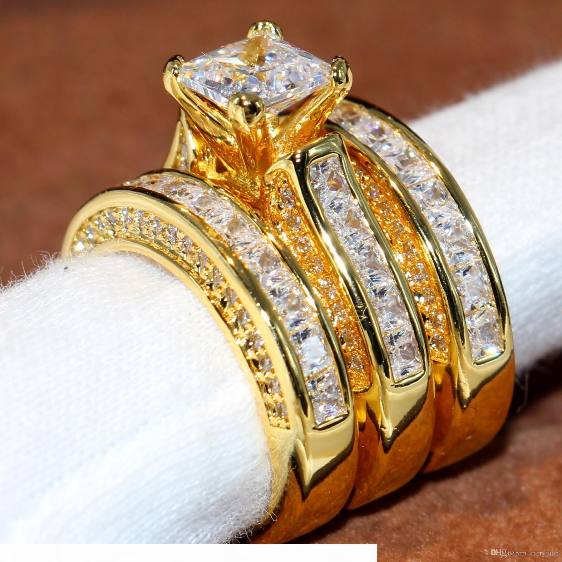 Gioielli Victoria Wieck Sparkling Moda Principessa Anello 14KT oro giallo riempito 3 IN 1 White Topaz del partito della CZ delle donne del diamante anello da sposa